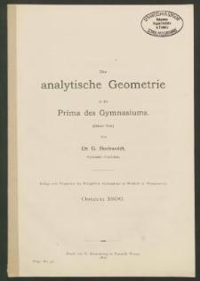 Die analytische Geometrie in der Prima des Gymnasiums. Dritter Teil