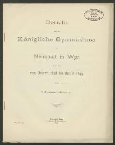 Bericht über das Königliche Gymnasium zu Neustadt in Wpr. für die Zeit von Ostern 1898 bis dahin 1899
