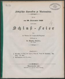 Königliches Gymnasium zu Marienwerder. Zu der am 30. September 1868