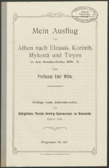 Mein Ausflug von Athen nach Eleusis, Korinth, Mykenä und Tiryns in den Sommerferien 1899. II
