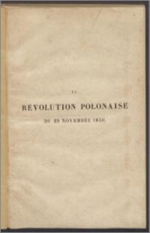 La révolution polonaise du 29 Novembre 1830