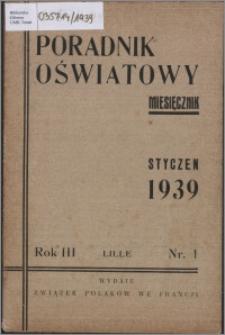 Poradnik Oświatowy / Rada Porozumiewawcza Związków Polskich we Francji 1939, R. 3 nr 1