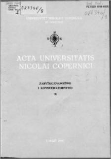 Acta Universitatis Nicolai Copernici. Nauki Humanistyczno-Społeczne. Zabytkoznawstwo i Konserwatorstwo, z. 9 (112), 1980