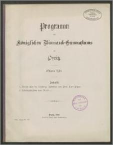 Programm des königlichen Bismarck-Gymnasiums zu Pyritz. Ostern 1910