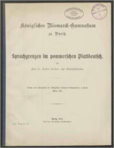 Sprachgrenzen im pommerschen Plattdeutsch
