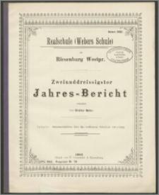 Realschule (Webers Schule) zu Riesenburg Westpr. Zweiunddreissigster Jahres - Bericht