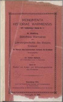 Bibliotheca Warmiensis. Bd. 4, Quellen zur Kultur- und Wirtschaftsgeschichte des Ermlands