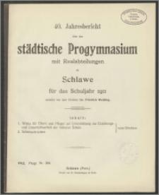 40. Jahresbericht über das städtische Progymnasium mit Realabteilungen zu Schlawe für das Schuljahr 1911