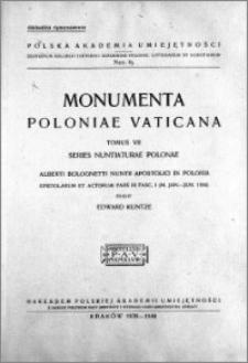 Alberti Bolognetti Nuntii Apostolici in Polonia epistolae et actorum P. 3, fasc. 1, (M. Jan. - Jun. 1584)