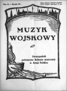Muzyk Wojskowy. Dwutygodnik poświęcony kulturze muzycznej w Armji Polskiej 1929.04.15 R.4 nr 8