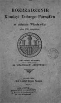 Rozrządzenie Komisji Dobrego Porządku w mieście Włocławku roku 1787 uczynione