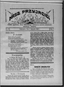 """Nasz Przyjaciel : dodatek tygodniowy """"Głosu Wąbrzeskiego"""" poświęcony sprawom oświatowym, kulturalnym i literackim 1929.11.02, R. 7 [i.e. 6], nr 37"""