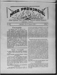 """Nasz Przyjaciel : dodatek tygodniowy """"Głosu Wąbrzeskiego"""" poświęcony sprawom oświatowym, kulturalnym i literackim 1929.11.09, R. 7 [i.e. 6], nr 38"""