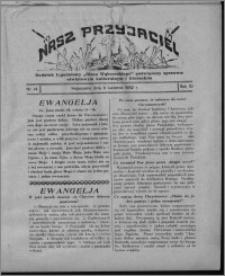 """Nasz Przyjaciel : dodatek tygodniowy """"Głosu Wąbrzeskiego"""" poświęcony sprawom oświatowym, kulturalnym i literackim 1932.04.09, R. 10, nr 14 [i.e. 15]"""