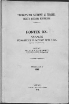 Annales monasterii Oliviensis ord. Cist. aetate posteriores. Fasc. 1-4