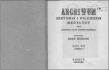 Archiwum Historii i Filozofii Medycyny 1926 t.7 z.1