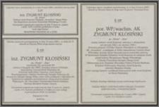 Nekrologi Zygmunta Kłosińskiego