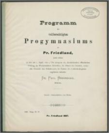Programm des vollberechtigten Progymnasiums zu Pr. Friedland