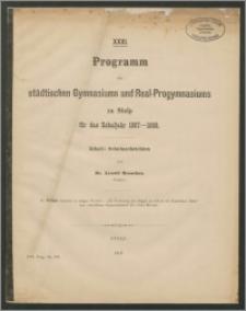 XXXI. Programm des städtischen Gymnasiums und Real-Progymnasiums zu Stolp für das Schuljahr 1887-88