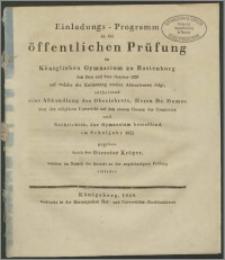 Einladungs-Programm zur öffentlichen Prüfung im Königlichen Gymnasium zu Rastenburg den 2ten und 3ten October 1828