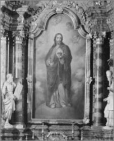 """Kalisz. Kościół jezuitów Nawiedzenia NMP (Sanktuarium Serca Jezusa Miłosiernego). Wnętrze. Ołtarz boczny. Obraz """"Jezus Miłosierny"""""""