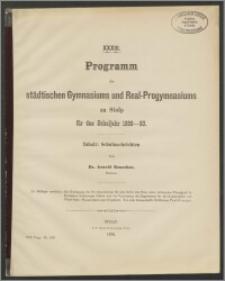 XXXIII. Programm des städtischen Gymnasiums und Real-Progymnasiums zu Stolp für das Schuljahr 1889-90