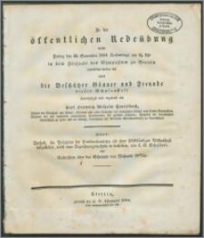 Zu der öffentlichen Redeübung, welche Freitag den 26. September 1834 Nachmittags um 2 1/2 Uhr in dem Hörsaale des Gymnasium zu Stettin