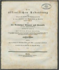 Zu der öffentlichen Redeübung, welche Freitag den 28. September 1838 Nachmittags um 2 1/2 Uhr in dem Hörsaale des Gymnasium zu Stettin