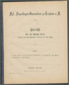 Kgl. Bugenhagen-Gymnasium zu Treptow a. R. Bericht über das Schuljahr 1888/9