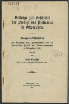 Beitrage zur Geschichte der Predigt des Pietismus in Ostpreuβen