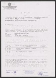 Decyzja Urzędu do Spraw Kombatantów i Osób Represjonowanych z dnia 05.11.1996, Nr 3/K0219/1076296 o rozszerzeniu okresu działalności kombatanckiej