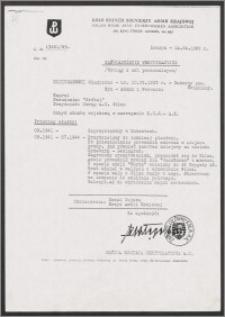 Zaświadczenie weryfikacyjne Koniuszewski Władysław