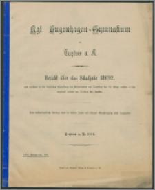 Kgl. Bugenhagen-Gymnasium zu Treptow a. R. Bericht über das Schuljahr 1891/92