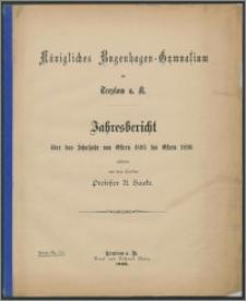 Königliches Bugenhagen-Gymnasium zu Treptow a. R. Jahresbericht über das Schuljahr von Ostern 1895 bis Ostern 1896