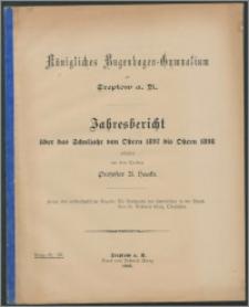 Königliches Bugenhagen-Gymnasium zu Treptow a. R. Jahresbericht über das Schuljahr von Ostern 1897 bis Ostern 1898