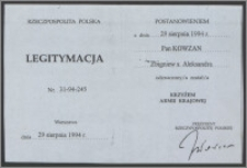Legitymacja Kowzana Zbigniewa do odznaczenia Krzyżem Armii Krajowej