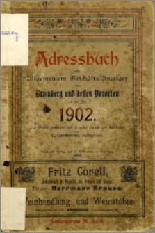 Adressbuch nebst allgemeinem Geschäfts-Anzeiger von Bromberg und dessen Vororten auf das Jahr 1902 : auf Grund amtlicher und privater Unterlagen