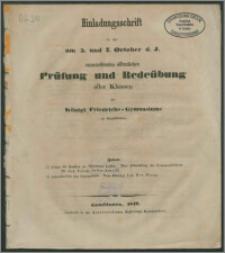 Einladungsschrift zu der am 5ten und 7ten Oktober d. J. anzustellenden Prüfung und Redeübung aller Klassen des Königl. Friedrichs-Gymnasiums zu Gumbinnen
