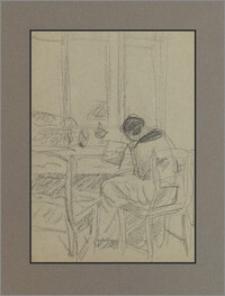 Żona artysty pisząca list w Kalwarii przy stoliku