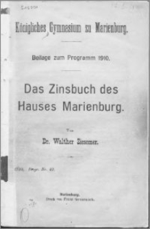 Das Zinsbuch des Hauses Marienburg