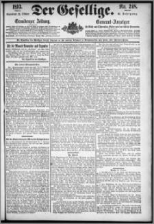 Der Gesellige : Graudenzer Zeitung 1893.10.21, Jg. 68, No. 248