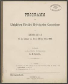 Programm des Königlichen Fürstlich Hedwigschen Gymnasiums zu Neustettin für das Schuljahr von Ostern 1880 bis Ostern 1882