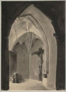 Wnętrze kościoła gotyckiego ze starcem