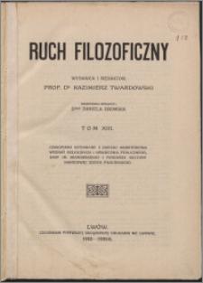 Ruch Filozoficzny 1935, T. 13 Indeks