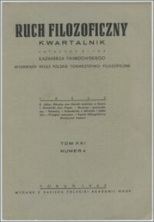 Ruch Filozoficzny 1962, T. 21 nr 4