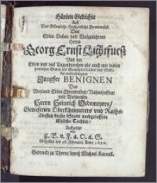 Hürten Gedichte Auff Das [...] Hochzeitliche Frewden-fest Des [...] Herrn Georg Ernst Lichtfuesz Vnd der [...] Jungfer Benignen Des [...] Herrn Heinrich Wedemeyers [...] Oberkämmerers vnd Raths-ältesten dieser Stadt [...] Tochter, Auffgesetzt / von C. B. v. F. a O. a. S. Gehalten den 28. Februarij Anno 1650