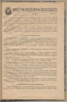 Biuletyn Muzeum w Grudziądzu maj 1960, nr 1
