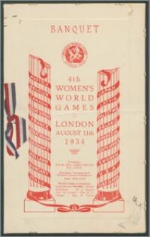Menu Bankietu wydanego z okazji IV IGRZYSK OLIMPIJSKICH KOBIET (Banquet 4 th Womens's Word Games), odbywających się w Londynie, 11 sierpnia 1934 r.
