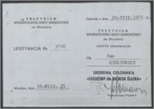 """Legitymacja Srebrnej Odznaki """"Zasłużony dla Dolnego Śląska"""""""