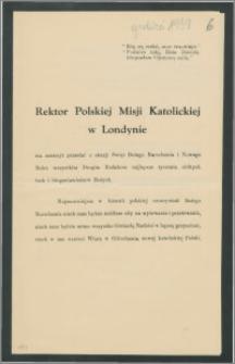 Życzenia Bożonarodzeniowe od Rektora Polskiej Misji Katolickiej w Londynie oraz plan uroczystości Bożonarodzeniowych, grudzień 1939 r.